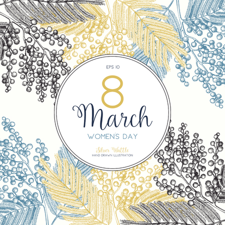 Women's Day greeting card or invitation design. Vector background with hand drawn Silver Wattle tree - Mimosa sketch. Vintage wedding Template. Save the Date. 8 March