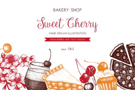 Vector menu design. Vintage cupcake and pie sketch. Sweet bakery.