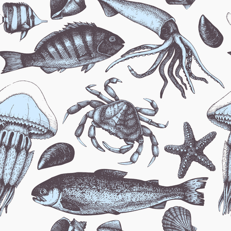 Vector Sea life background. Hand drawn Mussels, fish, crab, starfish, squid, jellyfish, shellfish sketch. Vintage seamless pattern. 向量圖像