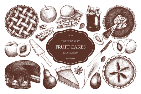Vector set of ink hand drawn fruit desserts. Traditional cake, tart and pie sketch collection. Decorative harvest illustration. Sweet bakery. Top view. Иллюстрация