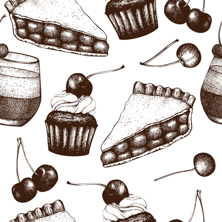 Fruit and berry dessert illustration. Cupcake and pie sketch. Sweet bakery. 矢量图像