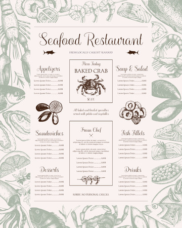 Vector Seafood menu design for restaurant or cafe. Ink Hand drawn fish illustration. Vintage food template in retro style. Vectores