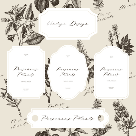 Poisonous plants illustration. Vintage botanical noxious weeds sketch background. Dangerous flowers pattern
