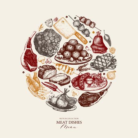Projekt wektor z ręcznie rysowane ilustracja jedzenie. Szablon menu restauracji. Rama z szkicu dań mięsnych.