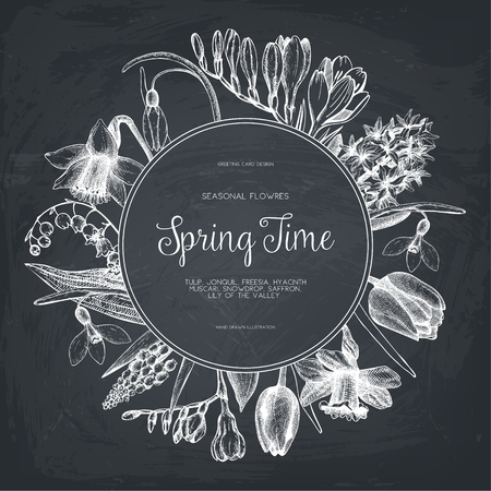 Vector card or invitation design with spring flowers illustrations. Vintage template on chalkboard. Botanical sketch. Vectores