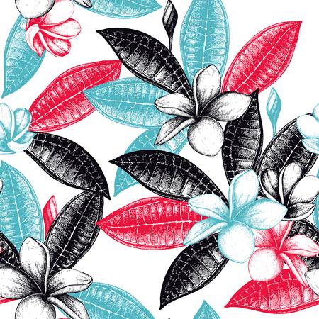 Modèle sans couture avec des plantes exotiques dessinées à la main. Fond de fleurs et de feuilles tropicales. Croquis de fleurs de Plumeria.