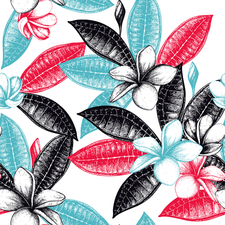 Seamless pattern with hand drawn exotic plants. Tropical flowers and leafs background. Plumeria flowers sketch.