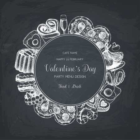 Vintage card for Valentines Day celebration. Vector frame with chalkboard. Cafe or restaurant menu template.