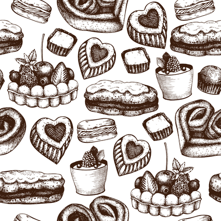 Valentines Day Background. Seamless vintage pattern with hand drawn sweets and pastries sketch. Vector food illustration.