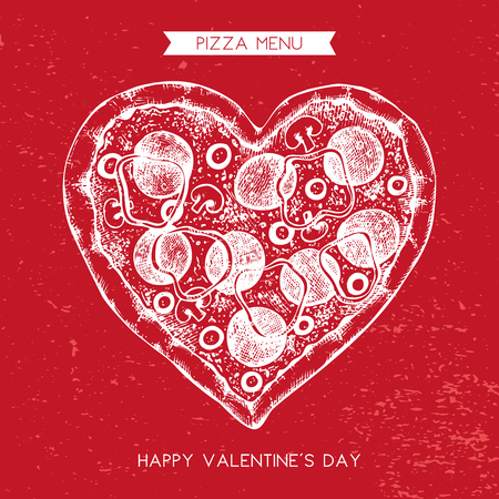Valentines Day Menu Design. Hand drawn pizza illustration. Vector sketch. Vintage template. Çizim