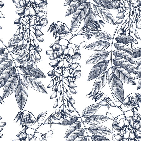 Wisteria flowers background in blue colors. Seamless pattern with hand drawn tree. Vintage vector illustration.