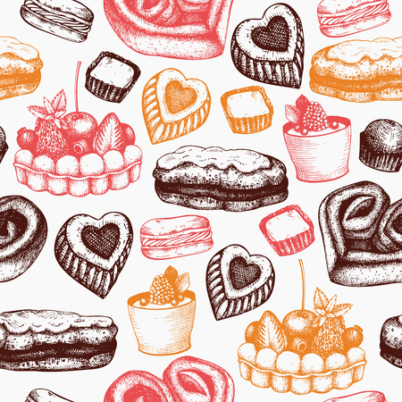 Valentine's Day Background. Seamless vintage pattern with hand drawn sweets and pastries sketch. Vector food illustration.