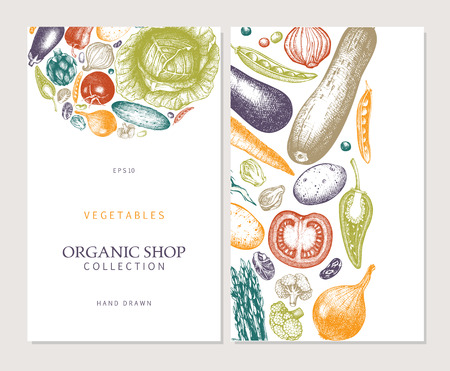 Eco food design with hand drawn vegetables sketch. Organic products frame. Vintage illustration. Vector template. Healthy eating.