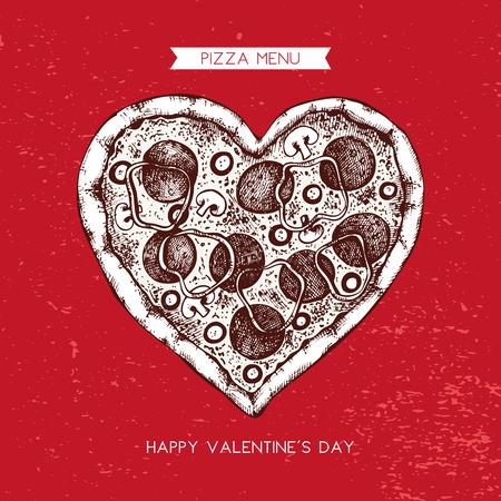 Valentine's Day Menu Design. Hand drawn pizza illustration. Vector sketch. Vintage template. Imagens - 122781813