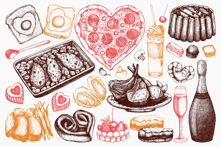 Valentine's Day Food and Drinks Collection. Hand drawn menu elements set for your holiday design. Vintage illustration. Vector outlines Imagens - 122781817