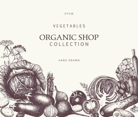 Healthy food card design with Hand drawn Cabbage sketch. Vector frame with vintage vegetables illustration. Salad Menu template. Stock Illustratie
