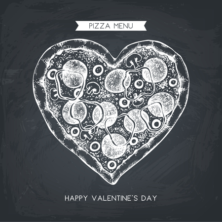 Valentines Day Menu Design. Hand drawn pizza illustration. Vector sketch. Vintage template. Illustration