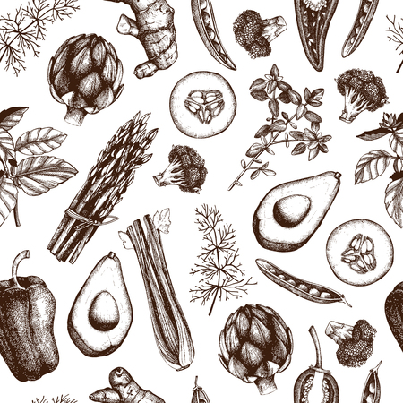 Seamless vector pattern. Organic food sketch. Vintage herbs background isolated on white. Vettoriali