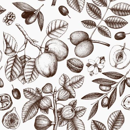 Modèle sans couture avec croquis d'arbres dessinés à la main. Fond de printemps avec illustration décorative d'olive, pomme, figue, noix. Éléments botaniques vectoriels. Vecteurs