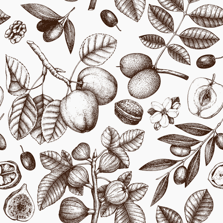 Seamless pattern with hand drawn trees sketch. Spring background with decorative olive, apple, fig, walnut illustration. Vector botanical elements.