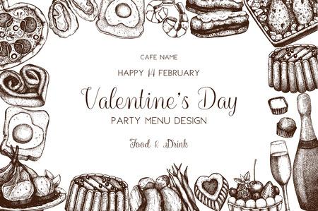Vintage menu design for cafe or restaurant. Valentines Day celebration. Illustration