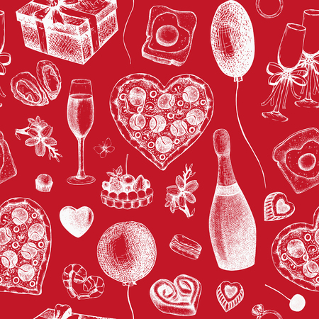 Valentine's Day Background. Seamless vintage pattern with hand drawn holiday elements sketch. Vector red colored illustration.