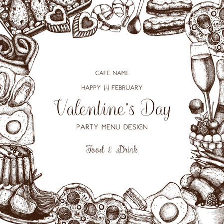 Valentines day greeting card, banner or flyer template. Sketched food and drinks illustration. Hand drawn Cafe menu, advertisement. Vector background. Ilustração