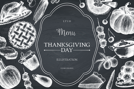 Thanksgiving Day menu design on chalkboard. Vector frame with hand drawn traditional food illustration. Family dinner background. Vintage template.