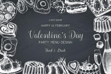 Vintage menu design for cafe or restaurant. Happy Valentines Day celebration