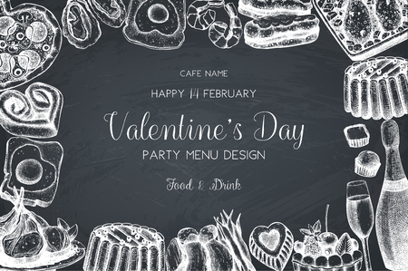 Vintage menu design for cafe or restaurant. Happy Valentines Day celebration