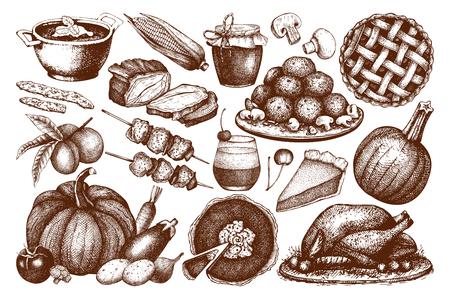 Vector collection of menu elements for Thanksgiving day decoration. Vintage holiday set. Harvest illustration outlines. Vetores