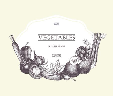 Vintage card design inking vegetables and spice sketch. Healthy food retro frame for menu. Vegetables template, detox program
