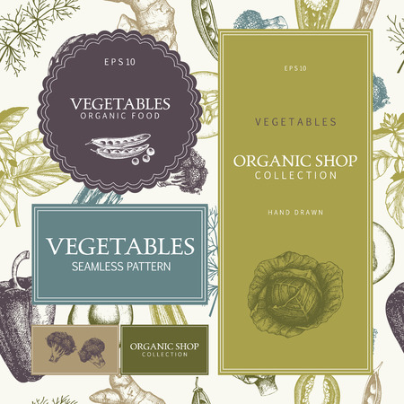 Healthy food menu design with hand drawn vegetables sketch. Seamless green pattern. Vector Vintage background