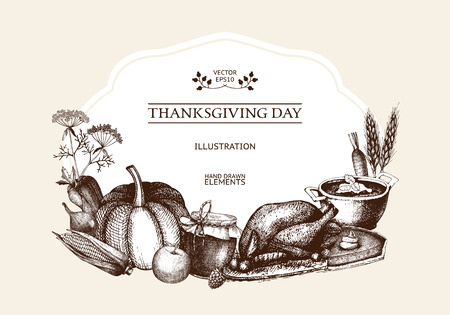 Vector card design for thanksgiving day with hand drawn autumn illustration. Harvest template