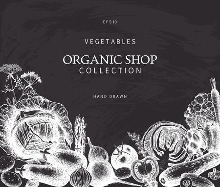 Eco food design with hand drawn vegetables sketch. Organic products frame. Vintage vegetables illustration. Vector template on chalkboard