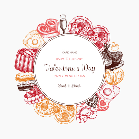 Valentines day card or menu design. Hand drawn Food and drinks elements. Vector sketched illustration. Vintage frame.
