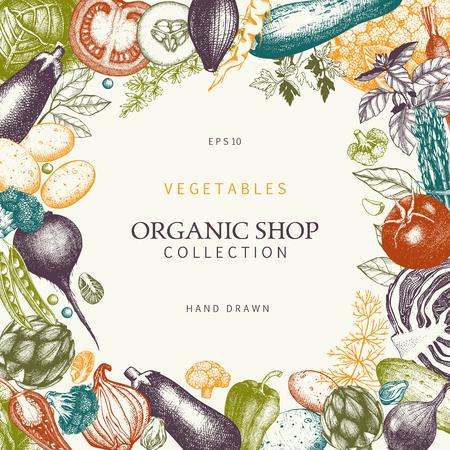 Card or menu design with hand drawn vegetables sketch. Vector eco food illustration. Vegetarian background. Vintage template Illustration