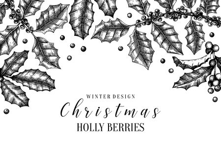 Christmas holly vector design Иллюстрация