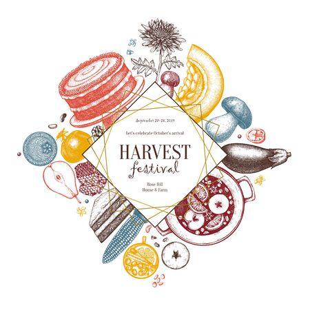 Autumn harvest festival flyer template. Ilustracja
