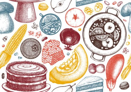 Autumn harvest festival vector seamless pattern. Ilustracja