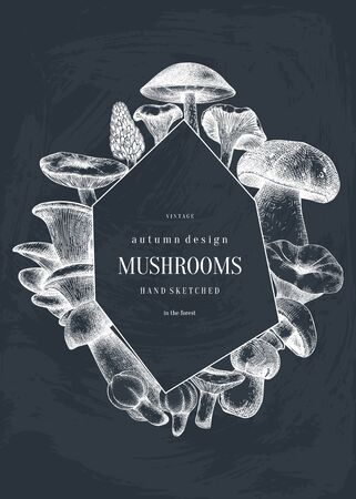 Vintage wreath design with hand drawn mushrooms.