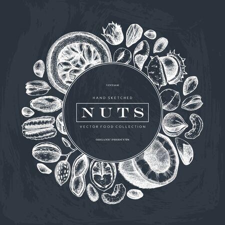 Vintage wreath design with nuts sketches on chalkboard. With vector pecan, macadamia, hazelnut,walnut, almond, pistachio, chestnut, peanut, brazil nut, hazelnut, coconut and cashew. Healthy food vector template Ilustracja