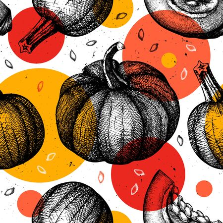 Trendy seamless pattern with hand drawn Pumpkins. Thanksgiving creative design. Autumn Harvest festival background with vector  pumpkins sketches and modern shapes. Collage.
