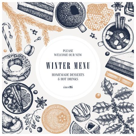 Hot drinks and desserts realistic vector design. Winter traditional food and drinks. Hand drawn coffee, mulled wine, hot chocolate, tea and baking.  Christmas menu vintage template.