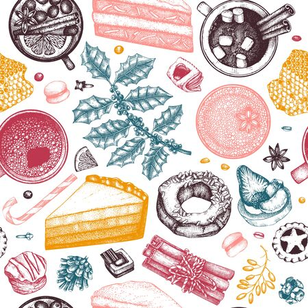 Winter desserts and hot seasonal drinks backdrop. Mulled wine, hot chocolate, coffee, tea and sweet baking illustration. Hand drawn winter food and drinks seamless pattern. Christmas bar menu template.