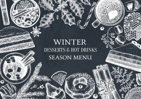 Winter desserts and hot seasonal drinks design. Mulled wine, hot chocolate, coffee, tea and sweet baking illustrations. Hand drawn winter food and drinks sketches. Christmas bar menu template on chalkboard  イラスト・ベクター素材