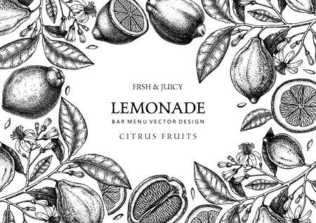 Ink hand drawn citrus fruits frame design. Çizim