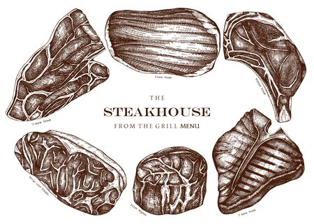 Raw beef steaks vector illustration collection. Raw meat top view drawings. Hand drawn cuts of beef.  Steak house, meat restaurant menu design . Food for grill template.