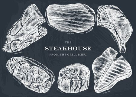 Raw beef steaks collection on chalkborad. Ilustracja