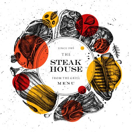 Beef steaks vector wreath design